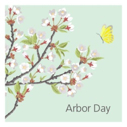 Arbor Day Logo with a tree branch with flowers and a yellow butterfly