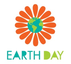 Earth Day Logo - Red flower with earth in the middle