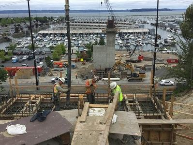 East abutment concrete pour