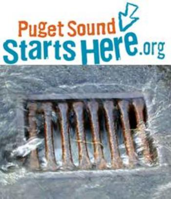 Picture of a storm drain with the words PugetSound Starts Here.org.