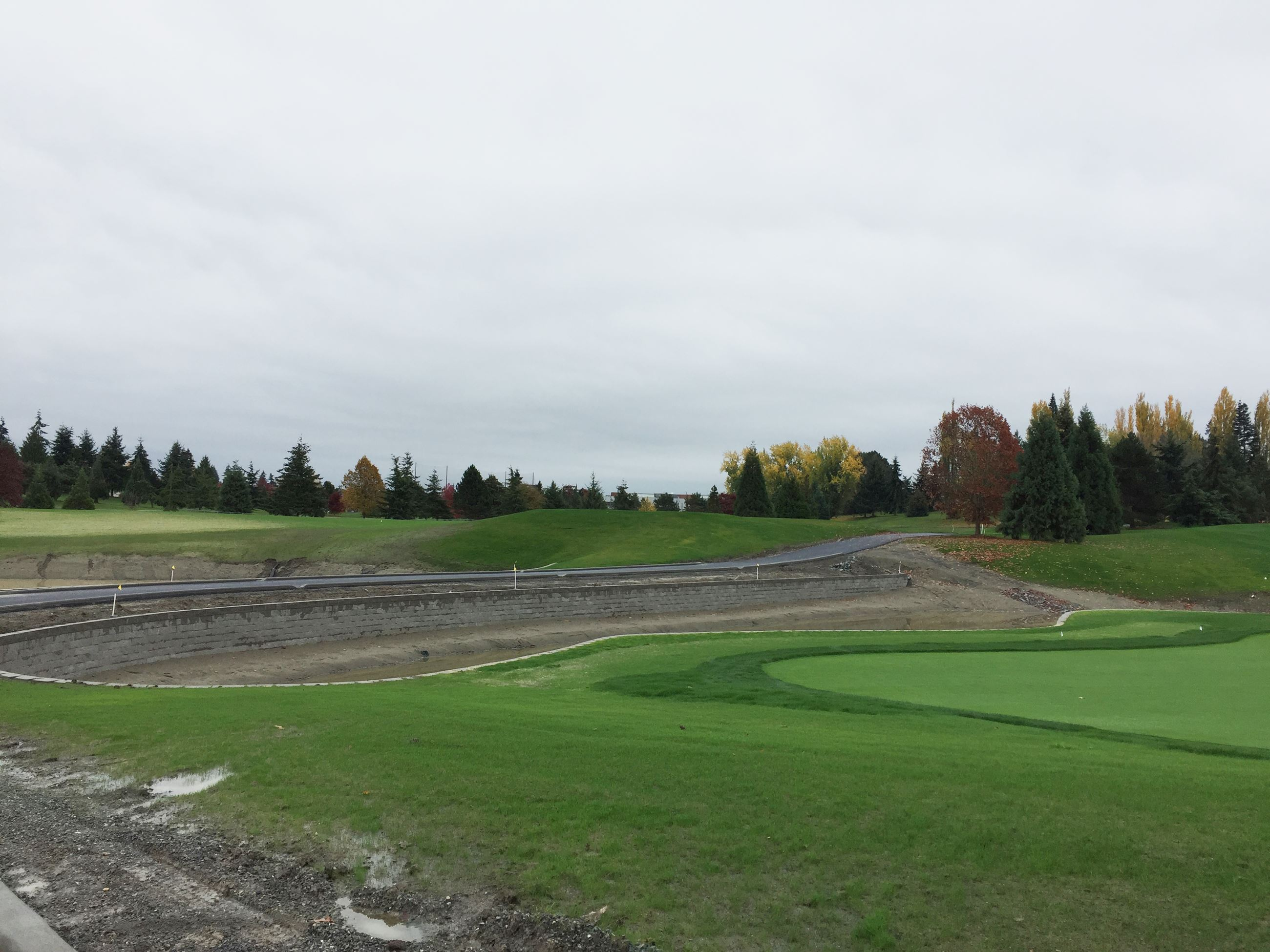 New cart path causeway between ponds green 13 on right 1