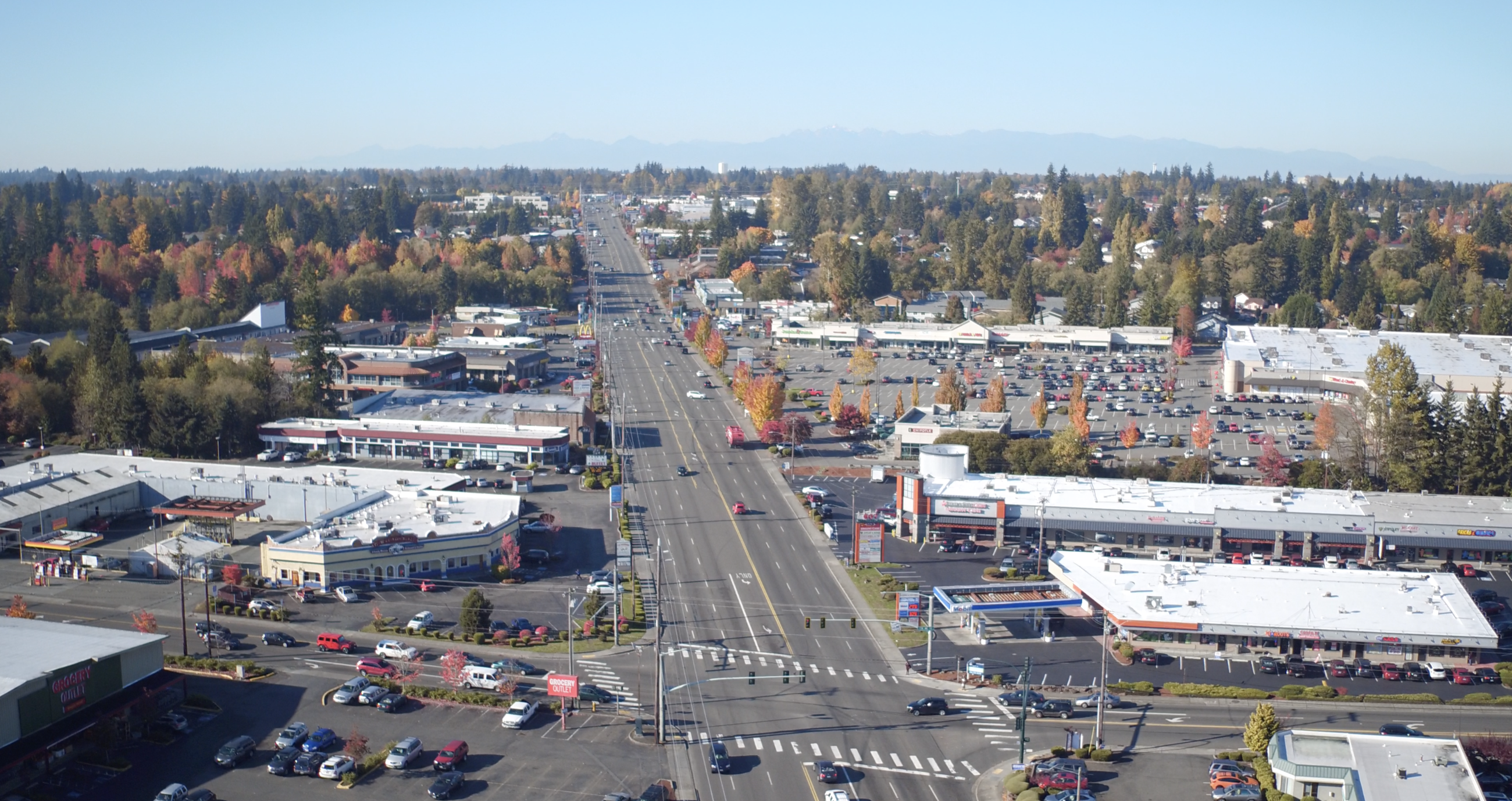 Aerial of Everett Mall Way