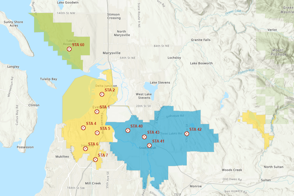 Jurisdiction Map for Everett Fire, SnoCo FD 15, SnoCo FD 4