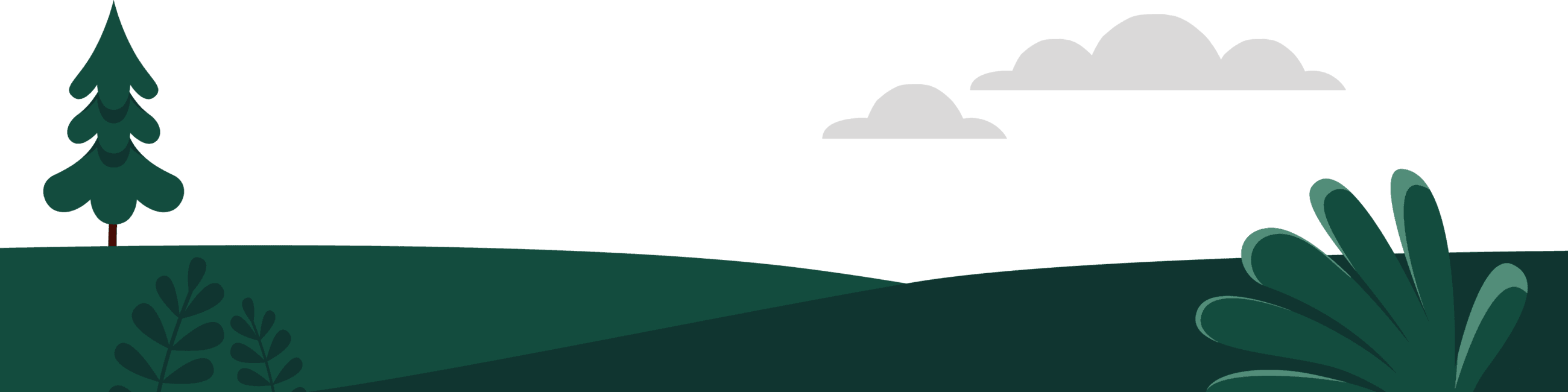 Graphic of hills, trees and clouds
