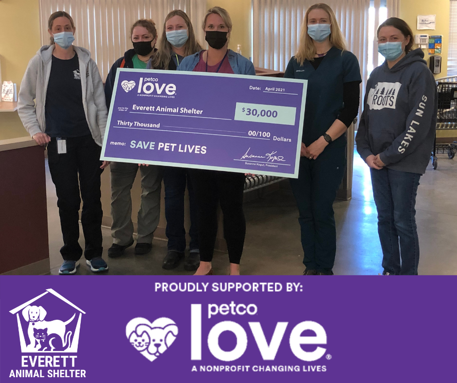 Everett Animal Shelter with giant check from Petco Love
