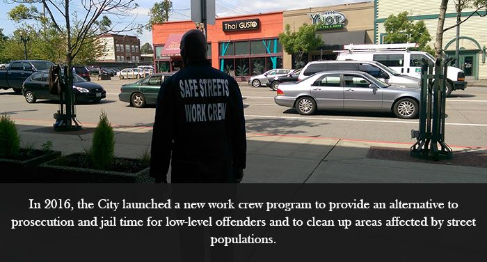 In 2016,  the City launched a new work crew program to provide an alternative to prosecution and jai