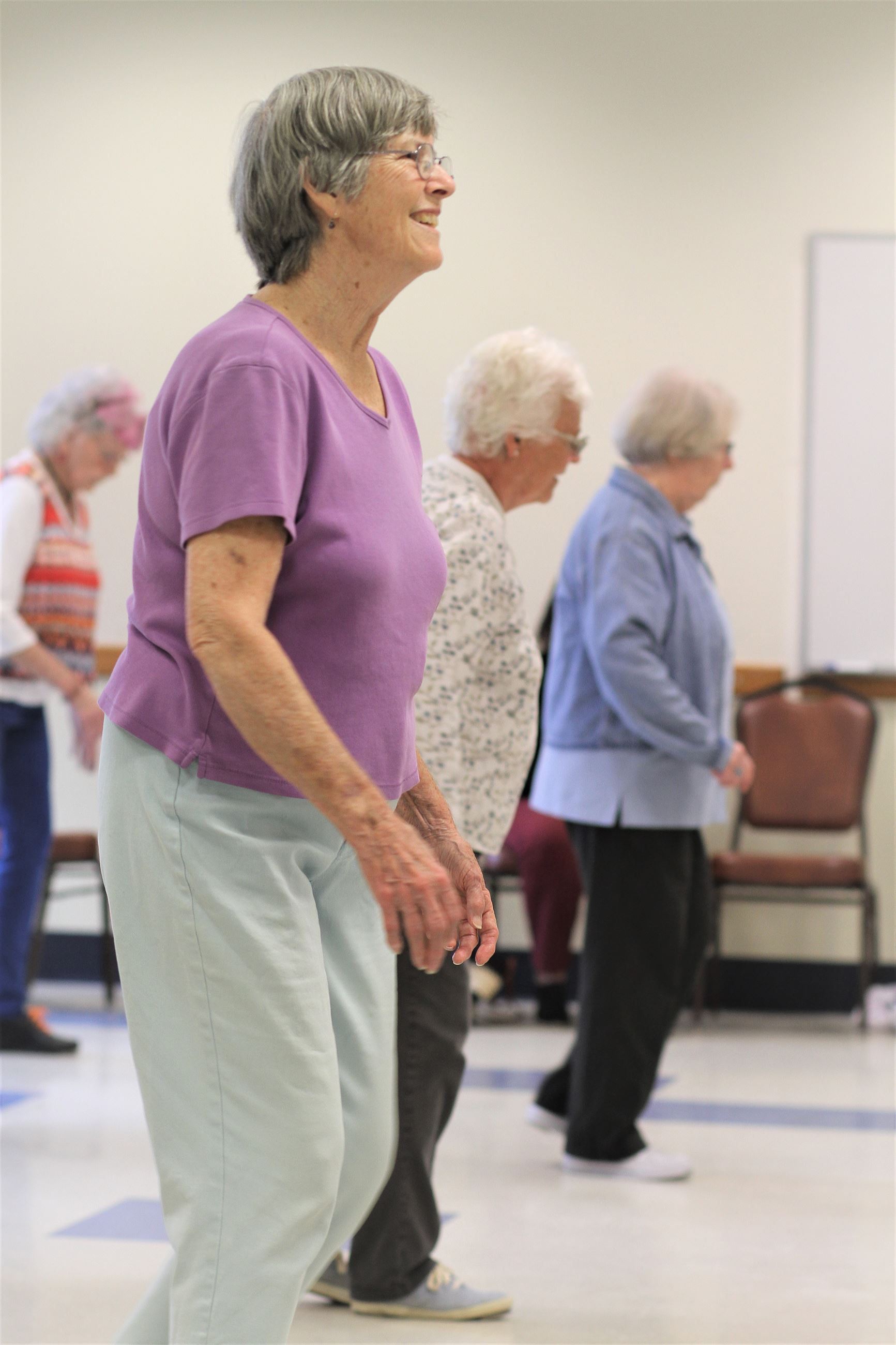 Our members enjoy clogging at senior center on Fridays