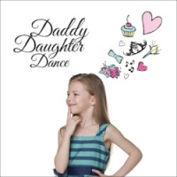 Little blonde girl in blue and black dress thinking about the Daddy Daughter Dance