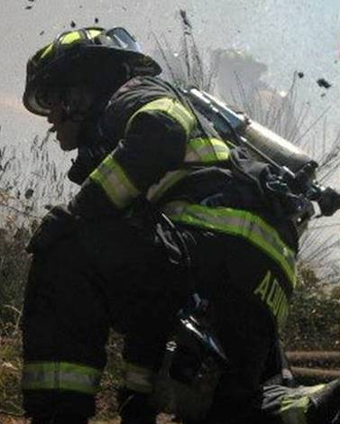 Firefighter Kneeling